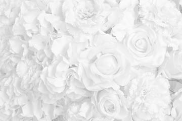 Beautiful decoration artificial rose flower in white tone background. Fototapete