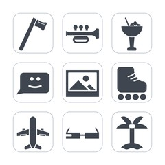 Premium fill icons set on white background . Such as skating, face, sound, nature, ice, modern, work, leisure, drink, tropical, airplane, musical, wrench, frame, cocktail, sport, instrument, chat, bar