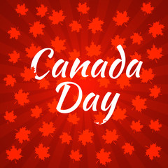 Canada Day. Dark red background, rays from the center, red maple leaves