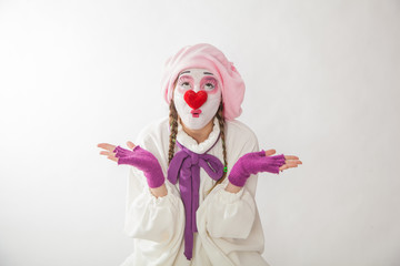 mime girl in a snowman costume. Man with emotions on a white background.