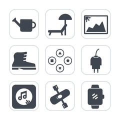 Premium fill icons set on white background . Such as play, water, kayak, cable, gardening, kayaking, style, power, frame, smart, object, music, relaxation, travel, river, equipment, screen, sunbed