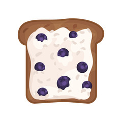 Slice of fresh toasted rye bread with cottage cheese and blueberries. Delicious and healthy sandwich. Flat vector icon