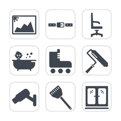 Premium fill icons set on white background . Such as cooking, car, kitchen, cabinet, security, blank, home, belt, shower, buckle, seat, furniture, leisure, brush, photography, baby, bath, paper, photo