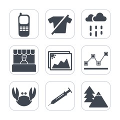 Premium fill icons set on white background . Such as weather, data, fashion, light, graph, business, tree, clothing, shirt, seafood, needle, office, digital, clothes, photo, technology, market, food