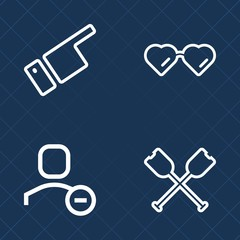 Premium set of outline vector icons. Such as account, black, oar, river, user, white, looking, eyeglasses, male, man, style, delete, sign, lifestyle, vision, pointing, hand, glasses, gesturing, canoe