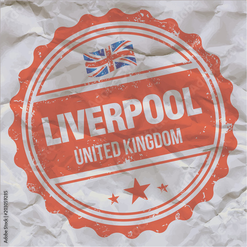 Liverpool, United Kingdom  Vector rubber stamp on crumpled