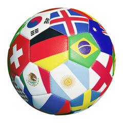 Bunter Fußball mit Flaggen der WM Teilnehmer