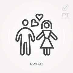 Line icon lover