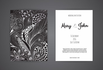 Vintage wedding invitation templates. Cover design with gold leaves ornaments.