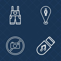 Premium set of outline vector icons. Such as audio, protective, data, protection, web, travel, photography, sign, navigation, location, song, musical, sound, pin, worker, information, music, storage