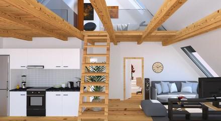 Apartement Mit Küche, Wohnbereich Und Galerie