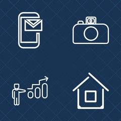 Premium set of outline vector icons. Such as envelope, mail, home, potential, photography, digital, flash, progress, career, construction, success, sign, message, mobile, modern, man, email, growth