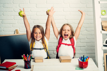Back to school and home schooling. Happy school kids at lesson in september 1. Friendship of small sisters in classroom at knowledge day. Little girls eat apple at lunch break. School time of girls