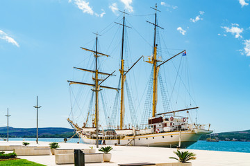 Old sailing ship in quay. Tivat, Montenegro