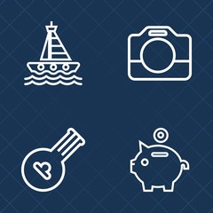 Premium set of outline vector icons. Such as movie, camcorder, art, wave, folk, coin, bank, melody, sail, record, handle, yacht, nautical, vessel, water, motor, sound, string, musical, investment, sea