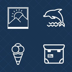 Premium set of outline vector icons. Such as border, mammal, vintage, photo, leap, blue, wildlife, dolphin, food, phone, white, animal, cream, people, jump, marine, photography, pretty, blank, art