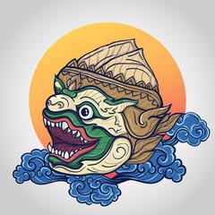 Hanuman head vector illustration