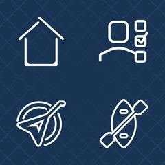 Premium set of outline vector icons. Such as task, estate, river, management, property, home, house, architecture, personal, sound, modern, art, play, concept, plan, housing, water, real, building