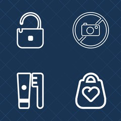 Premium set of outline vector icons. Such as toothbrush, safe, health, key, clean, dental, healthy, object, handbag, hygiene, tooth, padlock, dentist, toothpaste, mouth, no, protection, style, medical