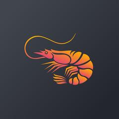 shrimp logo icon isolated on white background, Vector Illustration.