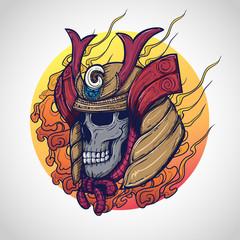 Samurai warrior skull tattoo design, Vector Illustration.