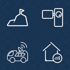 Premium set of outline vector icons. Such as snow, satellite, video, old, nature, housing, sale, lens, rock, transportation, technology, property, navigation, top, car, direction, gps, house, mountain