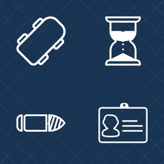 Premium set of outline vector icons. Such as business, measurement, style, lifestyle, hourglass, gun, skate, time, glass, shot, minute, steel, clock, ammo, measure, flow, board, id, extreme, name, fun