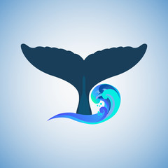 The tail of the humpback whale logo, vector illustration