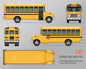 School bus vector mock-up. Isolated template of yellow autobus on transparent background. Vehicle branding mockup. Side, front, back, top view.