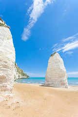 Vieste, Italy - Huge chalk cliffs at the beach of Vieste