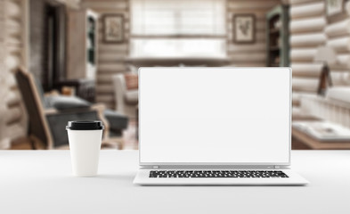 A notebook with coffee cup, mockup. Home office concept. 3d illustration.