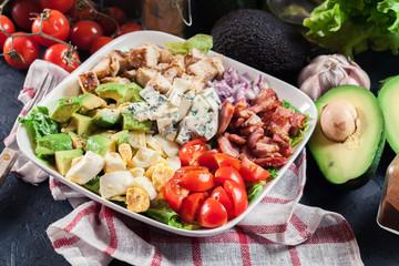 Healthy cobb salad with chicken