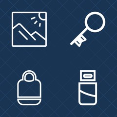 Premium set of outline vector icons. Such as device, security, handle, background, secure, sky, bag, home, style, scenic, fashion, vacation, outdoor, object, sign, brown, key, cable, connector, usb