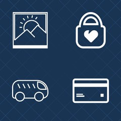 Premium set of outline vector icons. Such as frame, debit, object, plastic, accessory, paper, buy, payment, move, bright, handbag, fashion, white, travel, image, photo, style, left, luggage, bank, art