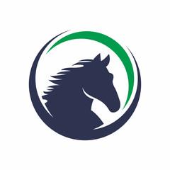 Circle Horse Logo Vector Design Template
