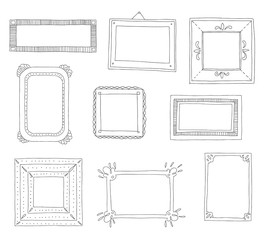 Decorative set template photo frames isolated on white background. Scrapbook concept. These photo frames you can use for kids picture or your love story. Vector illustration.