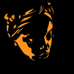 African woman portrait silhouette in backlight. Illustration