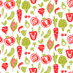 Seamless food pattern vector background. Organic vegetables red and green texture.