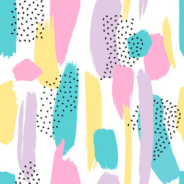 Vector seamless pattern with brush painted strokes and dots isolated on white background.