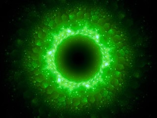 Green glowing magical stargate in space with hexagonal patterns