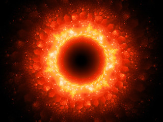 Fiery glowing magical stargate in space with hexagonal patterns