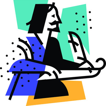Illustration of the writer, the poet. Icon of the logo for the literary club. Illustration for a tattoo, site, poster, postcard. Image on white background isolated. Vector illustration.