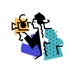 Illustration of the operator, director. Icon of a man with a movie camera. Man of visual art. Logo for the studio. Sound technician. Abstract picture. A bright image for the studio.