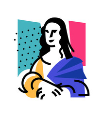 Illustration of the Mona Lisa. Icon of Gioconda, the artist Leonardo Davinci. Logo of a famous work, interpretation. Logo for beauty salon, studio. Abstract image.