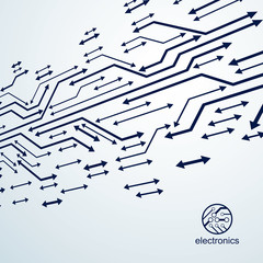 Vector abstract computer circuit board illustration, technology element with connections and arrows. Electronics theme web design. Modern technology communication.