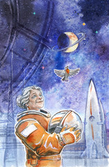 Cartoon in the space rocket, bird and old lady
