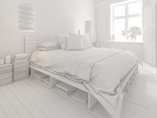 White Bedroom interior design 3D rendering