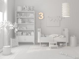 White Children room scandinavian style 3D rendering