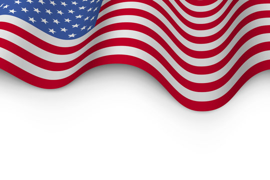 Wavy flag of United States of America