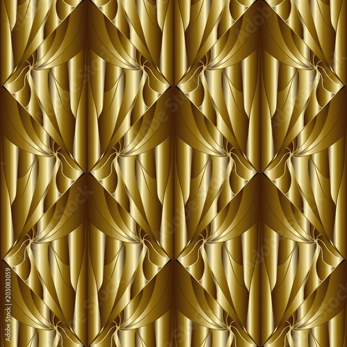 Geometric Abstract Gold 3d Seamless Pattern Textured Ornamental Patterned Background Tiled Drapery Rhombus
